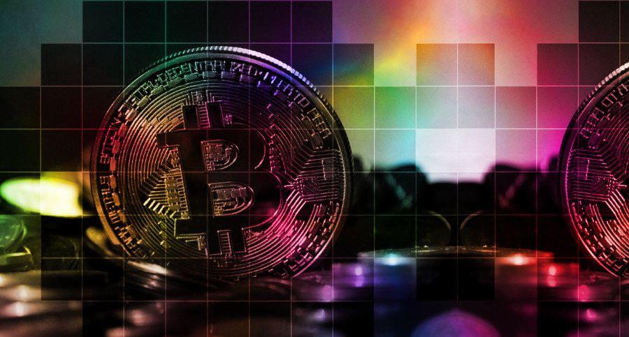 bitcoin, crypto, krypto, kryptoměna, blockchain, BTC, mince, žeton, coin, kostky, barva