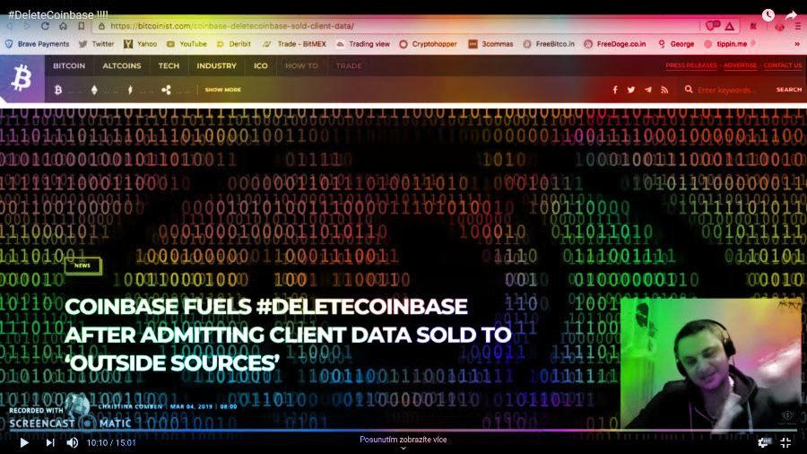 youtuber, coinbase, deletecoinbase, data, sold, únik dat