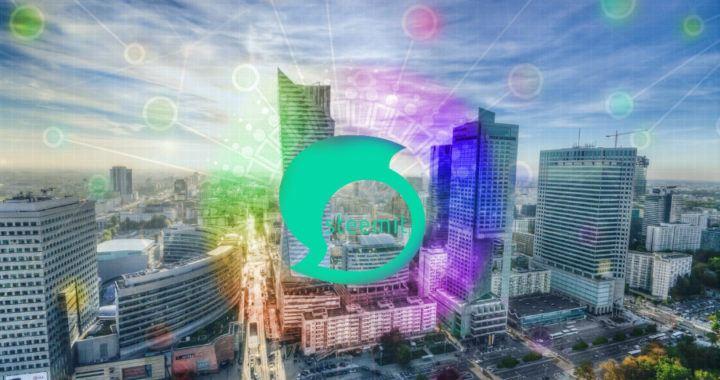 steem, steemit, město, mrakodrap, barvy, obloha, logo, blockchain