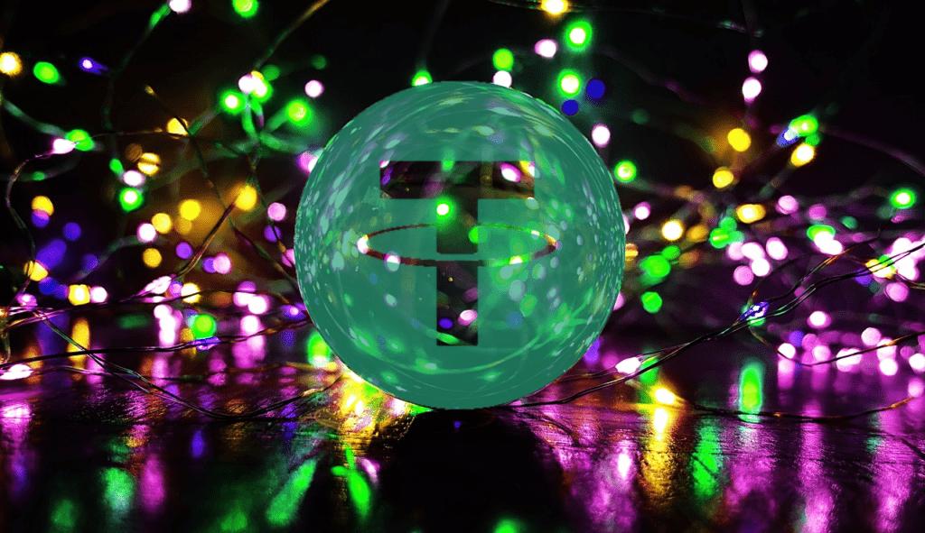 tether, stablecoin, usd, usdt, světla, zářivý, barevné, svíčky, záře, barevné