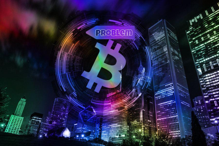 bitcoin, město, problém
