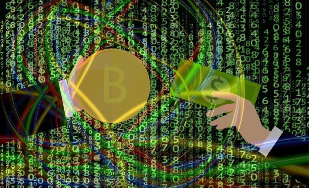 investice, bitcoin, ruka, peníze, nákup, matrix