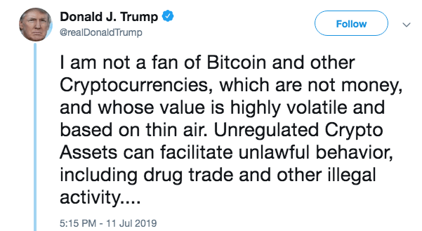 tweet, twitter, Trump, kritizuje Bitcoin, marketing