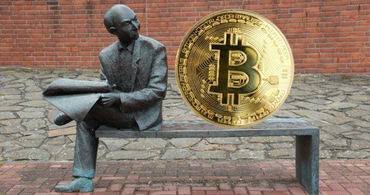 bitcoin, otázky, lavička, muž, odpovědi, noviny, socha, bitcoinovej kanál, dotazy,