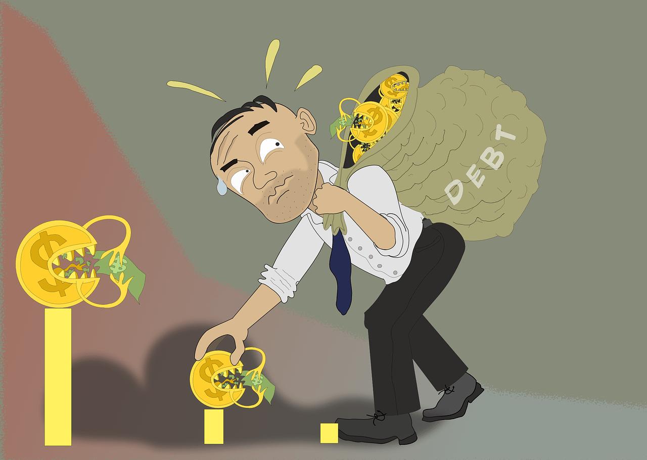 dluh, zadlužení, splátky, inflace, smutný, na zádech, sežrat, peníze, hodl, inflační, dluhová, otrok