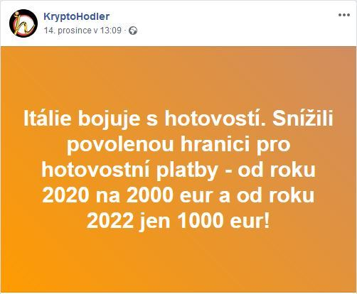 Facebookovinky 2 , Itílie, hotovost, omezení, 2000, 2020