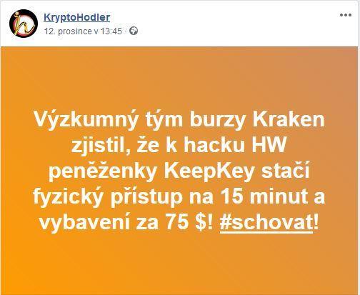 Facebookovinky 2 , KeepKey, Kraken, bezpečnost, kryptopeněženka