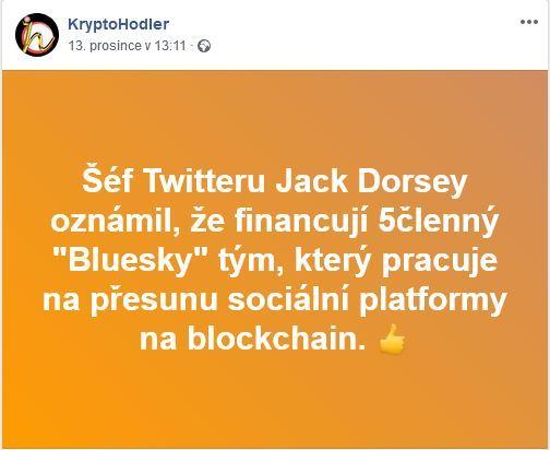 Facebookovinky 2 , Twitter, Jack Dorsey, blockchain, Bluesky