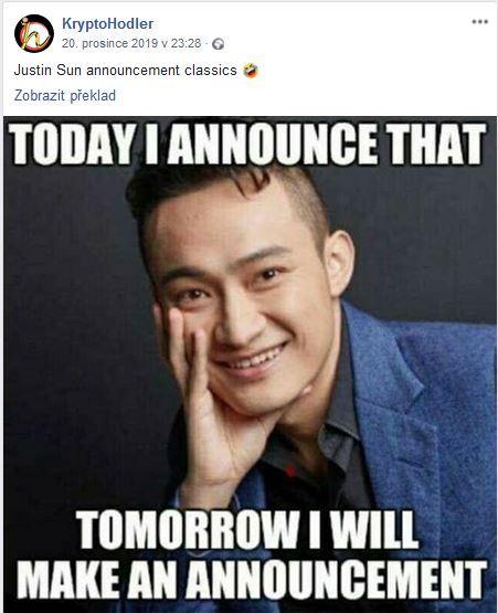 Justin Sun, oznamuje