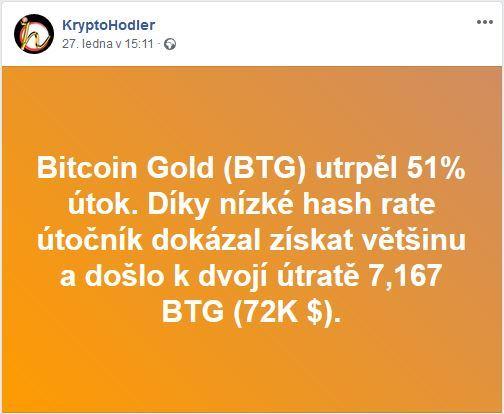 BTG, Bitcoin Gold, 51%, útok, double spending