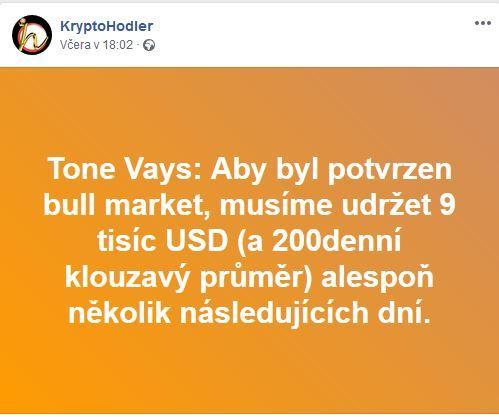 Tone Vays, cena, BTC, 9