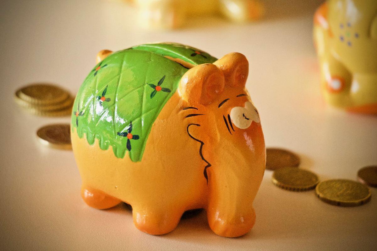 pokladnička, slon, úspory, investice