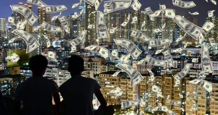 hotovost, peníze, zdarma, airdrop, padá, prší