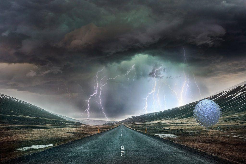 koronavirus, covid-19, bouře, krize, cesty, blesky