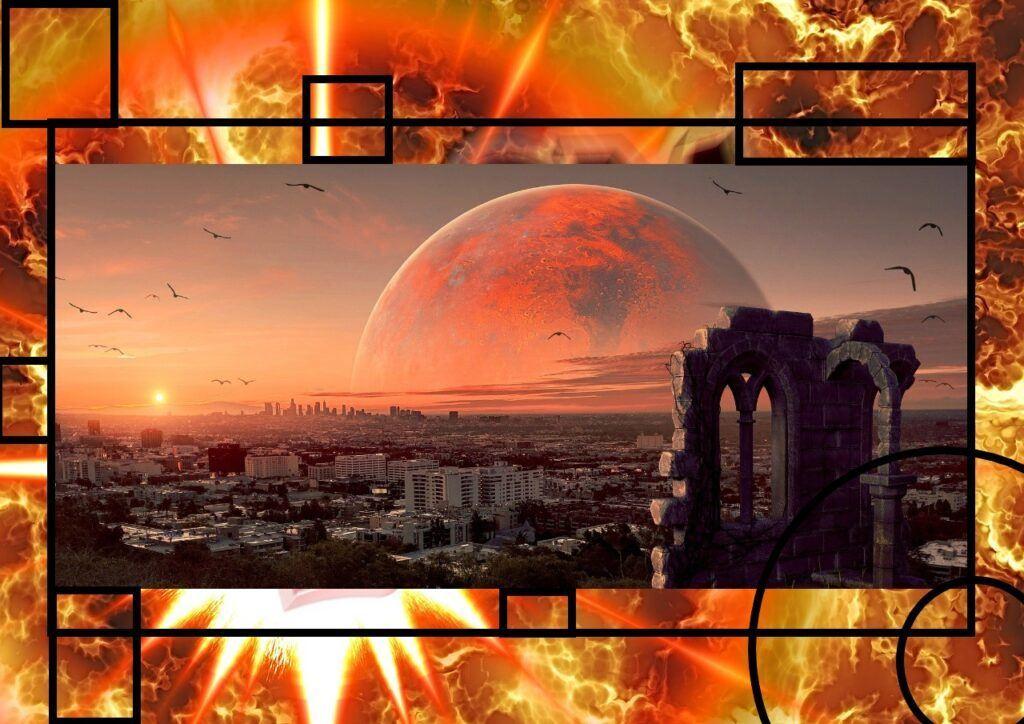 vesmír, svět, život, sci-fi, planeta, boom, mysl, město, lidé