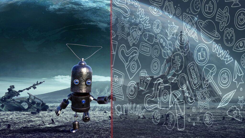 internet, robot, technologie