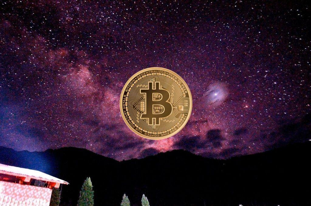Bitcoin, BTC, vesmír, galaxie