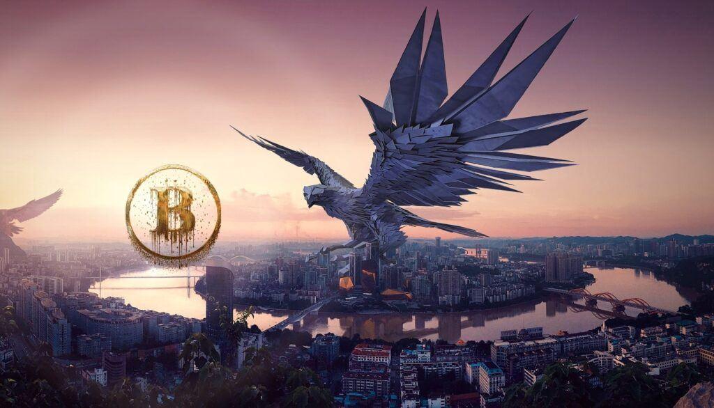 Bitcoin, dark, pohled, temný, fantasy, sci-fi, město, temný,