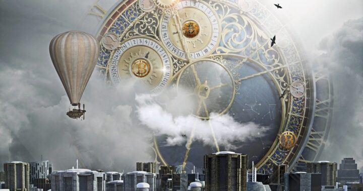 čas, btc, bitcoin, fantasy, hodiny, město, balón, time, korekce