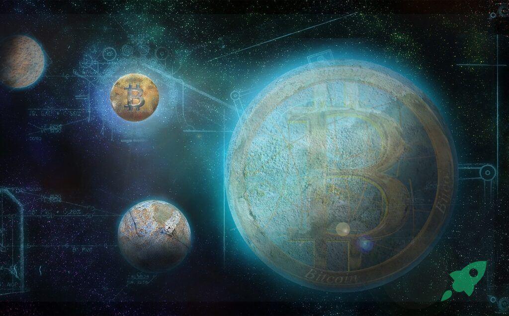 Bitcoin, vesmír, sci-fi, btc, space, moon, digitální, planet, dark
