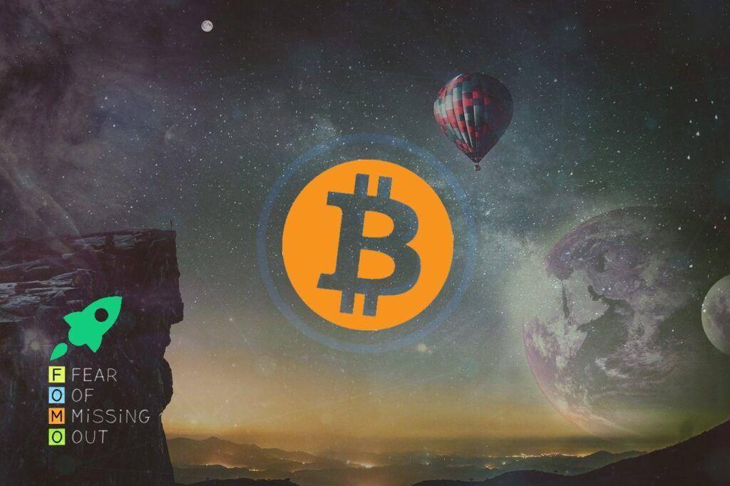FOMO, bull, parabolický, růst, bitcoin, moon, růst, up, sky, fantasy