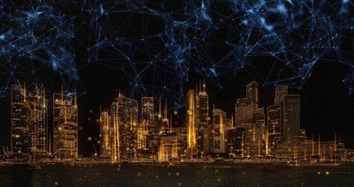 technologie, digital, blockchain, dlt, město, digital