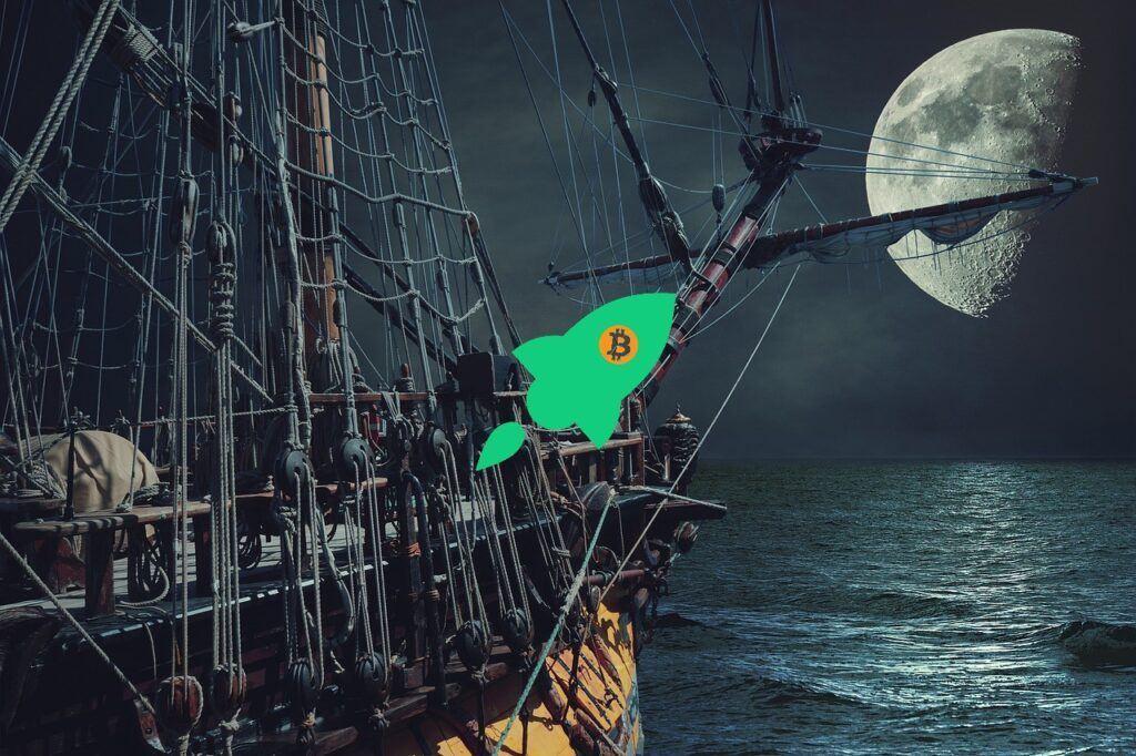 BTC, bitcoin, měsíc, moon, raketa, růst, loď, dark ,temný, pirát, moře,