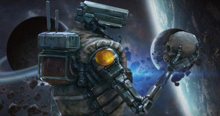 Bitcoin, sci-fi, robot, vesmír, space, lebka