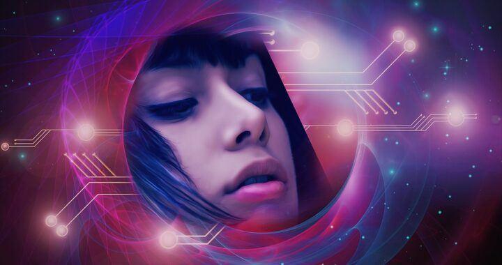 sci-fi, fantasy, žena, vesmír, obličej, digitální