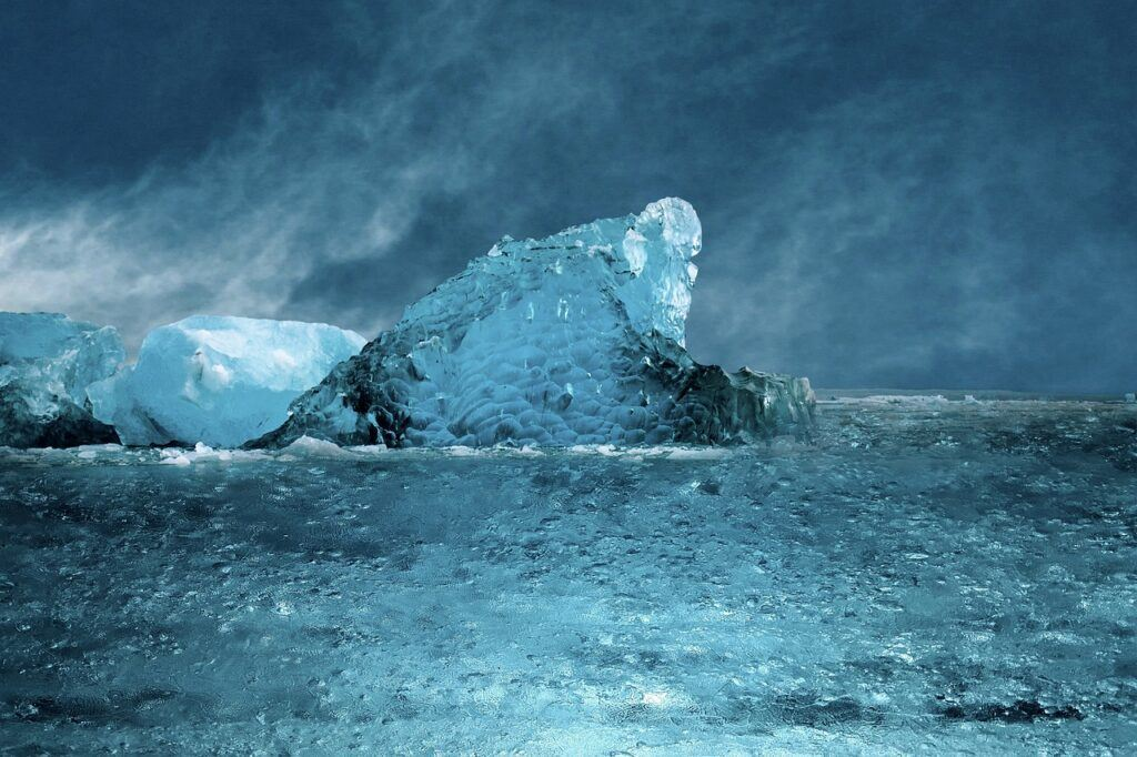 moře, oceán, led, zmrzlý, mrazivý