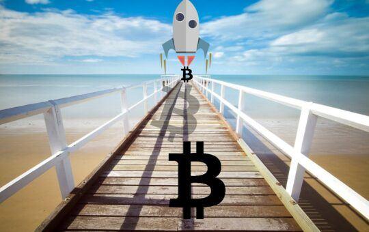 Bitcoin, raketa, geometrický, btc, moon, pláž, most, kapitalizace