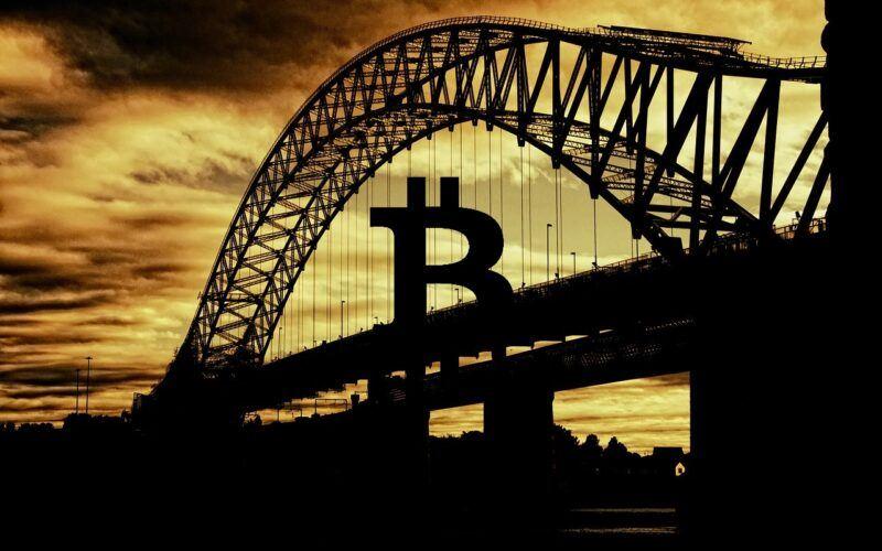 Bitcoin, architektura, most, pásmo, slunce, světlo, západ