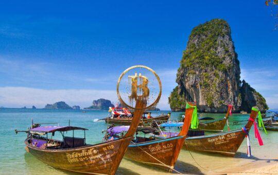 thajská, voda, loď, tropický
