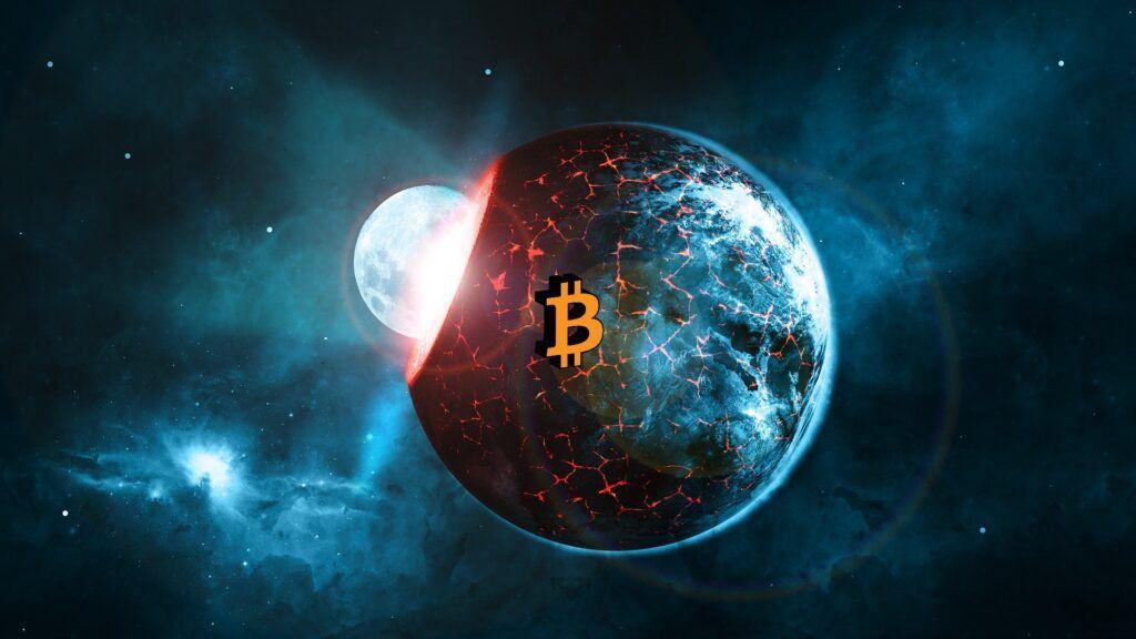 bitcoin, scifi, planeta, vesmír,