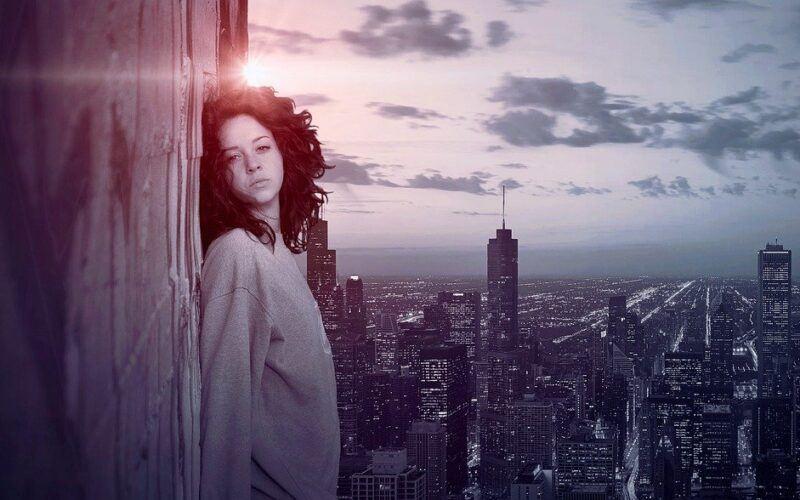 město, temný, smutek, žena, propad, panorama, strach