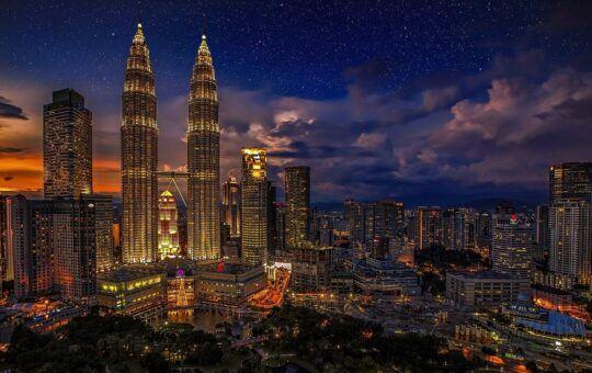město, noc, temný, světlo, budovy, mrakodrap,