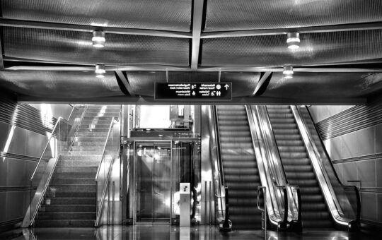 výtah, schody, přichází, šedý, architektura